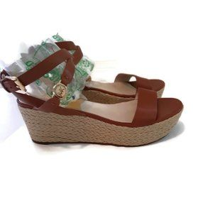 M. Kors brown leather women's mid wedge size 7.5M